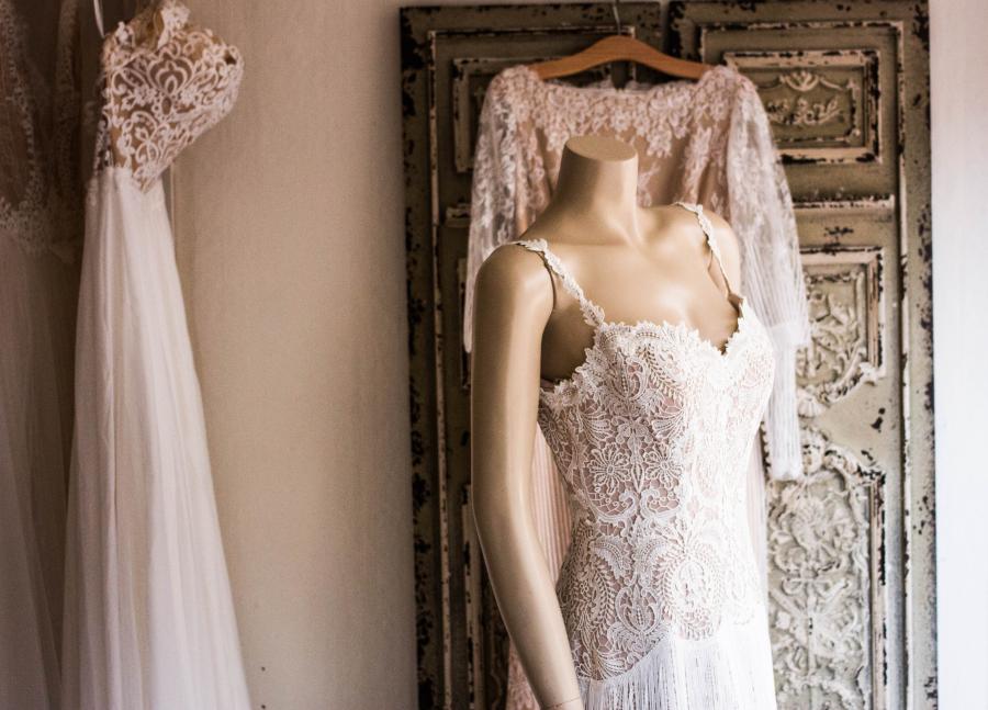 The bride's white dress